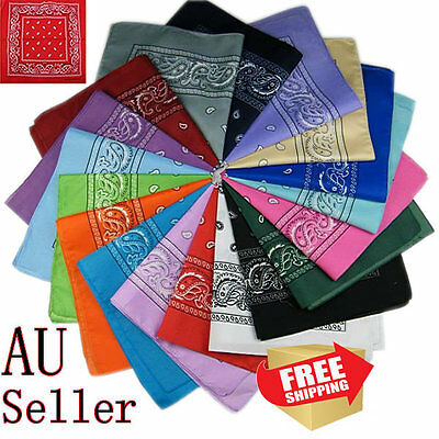 100% COTTON BANDANA Paisley Head Wrap Bandana Scarf Durag Headwrap Summer Mask 2