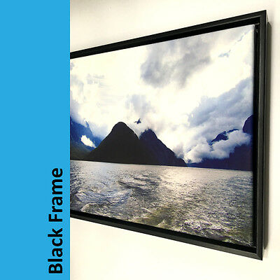Personalised Photo on Canvas Print with Wooden Floating Frame A1 A2 A3 A4 7