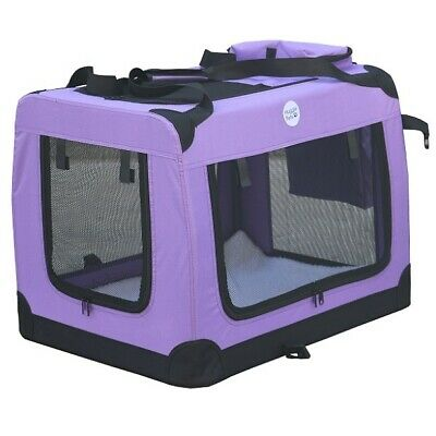 HugglePets Fabric Dog Crate Puppy Carrier - Cat Travel Cage Carry Pet Bag 4 Size 4