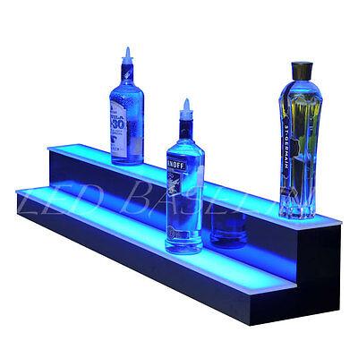 "48"" 2 Step LED Lighted Glowing Liquor Bottle Display Shelf Home Back Bar Rack 6"
