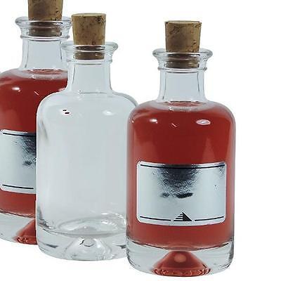 6 Apothekerflaschen 100 ml Glasflaschen mit Korkverschluss zum Selbstbefüllen