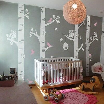 owl bird birch tree wall decal vinyl baby nursery playroom mural