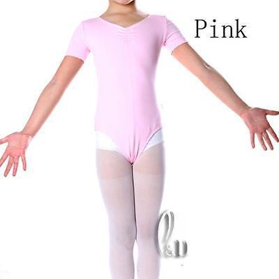 Au Stock Girls Adults Cotton Short Sleeve Dance Ballet Gymnastics Leotard Da004