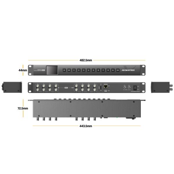 AVMATRIX MSS0811 1RU 8×8 3G-SDI compact SDI routing Matrix Switcher  8x8 in&out 4