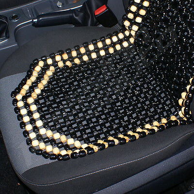 BLACK & NATURAL Wooden Bead/beaded Car/taxi/van Front Seat Cover ...