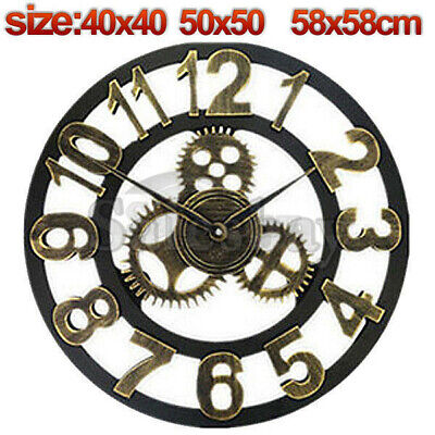 Large Metal and Wooden Industrial French Provincial Antique Round Wall Clock 10