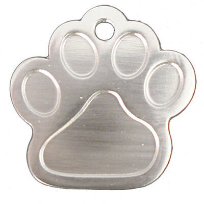 Dog Tags ID Engraved Personalised Name 27mm Paw Anodised Pet Cat Discs Disks 5