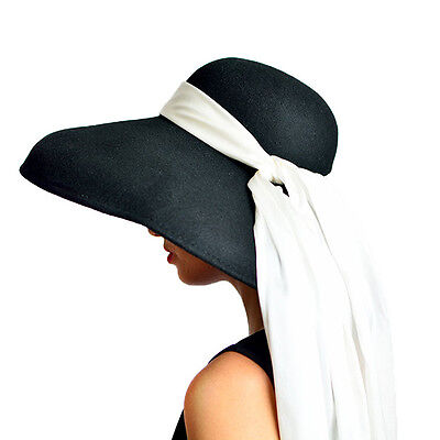 ... Breakfast at Tiffanys Oversized Pure Black Wool Hat Sun Headwear Audrey  Hepburn 3 fe0c469b0c0
