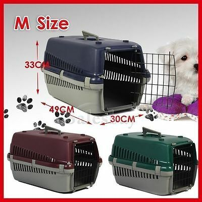 Portable Plastic Dog Cat Pet Pets Carrier Travel Cage w Front Doors House Kennel 3