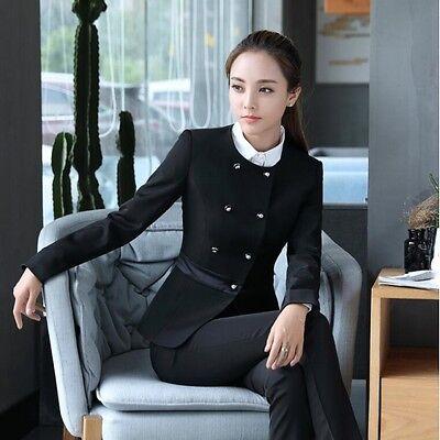 1 sur 4 élégant Costume ensemble femme gris noir veste manches longues  pantalon w9033 b30eb76e33d2