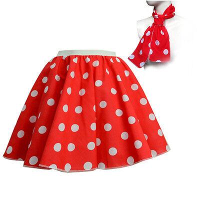 ROCK N ROLL Fancy Dress Grease 1950s Fancy Dress SKIRT & SCARF COSTUME all Size 3