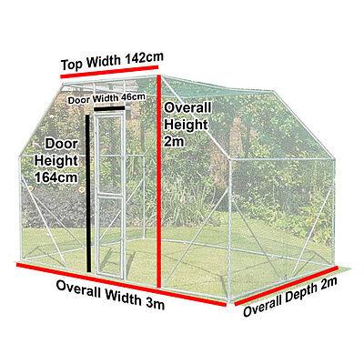 Chicken Run 2M X 3M Walk In Pet Cage Coop For Dog Rabbit Hen Cage Pen Metal Door 5