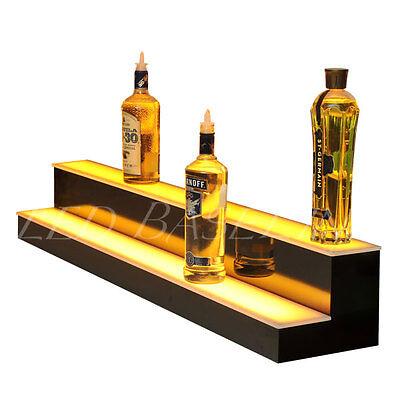 "48"" 2 Step LED Lighted Glowing Liquor Bottle Display Shelf Home Back Bar Rack 2"