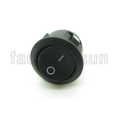 "5PCS Round Black Power Rocker Switch 3 Pin SPDT ON-ON 20mm 0.79"" 12V 10A CE 2"