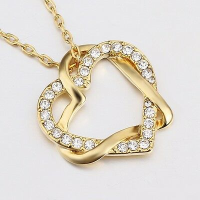 New 18K Gold Filled Women's Love Heart Pendant Necklace With Swarovski Crystal 5