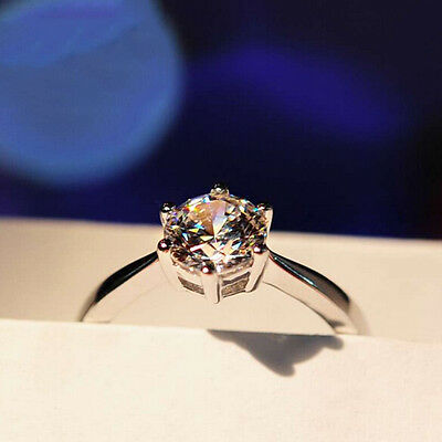 5 ct White Sapphire Claw Ring 10KT White Gold Filled Wedding Rings Band Size4-12 4