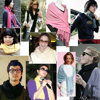 Soft Pashmina Solid Cashmere Silk Wrap Long SCARF Women neck Winter Warmer Shawl 4