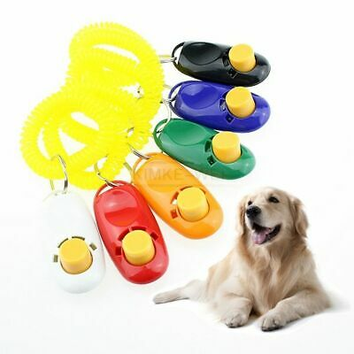 Pet Dog Cat Click Clicker Training Agility Obedience Trainer Aid Wrist Strap New 2