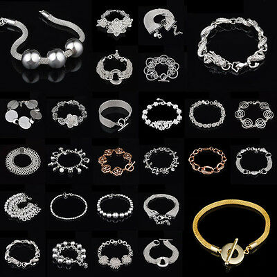 Women Jewelry Bangle Chain Bracelet 925 Sterling Solid Silver Crystal Cuff Charm 4