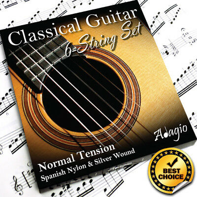 3 Packs Nylon Classical Guitar Strings By Adagio + FREE CHART + 1ST CLASS POST 8