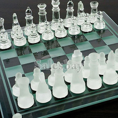 Extra Large Elegant 35 x 35 cm Frosted Glass Chess Board Game Set (Chess-Large)