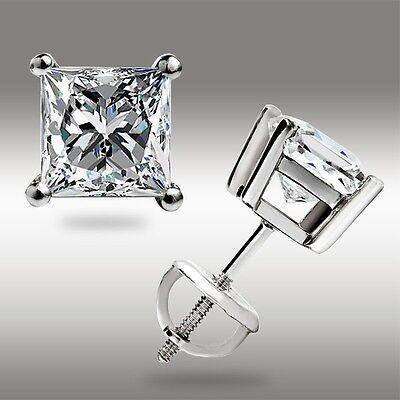1.00 Ct. Princess Cut Solitaire Stud Earrings 14K White Gold Screw back Pierced 2