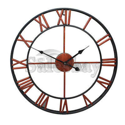 Large Metal and Wooden Industrial French Provincial Antique Round Wall Clock 5