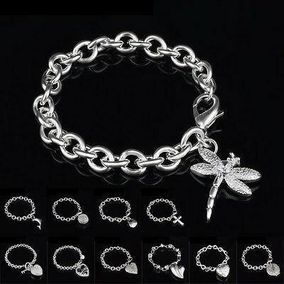 Women Jewelry Bangle Chain Bracelet 925 Sterling Solid Silver Crystal Cuff Charm 2