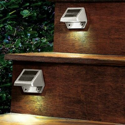 4 LED Solar Powered Stairs Fence Garden Security Lamp Outdoor Waterproof Light 9
