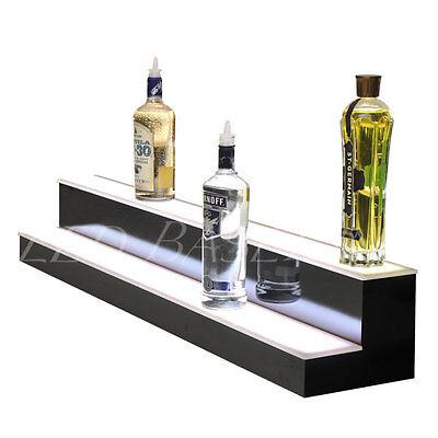 "48"" 2 Step LED Lighted Glowing Liquor Bottle Display Shelf Home Back Bar Rack 5"