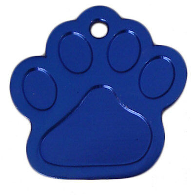 Dog Tags ID Engraved Personalised Name 27mm Paw Anodised Pet Cat Discs Disks