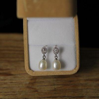Boucles d/'Oreilles Double Perle Culture Blanc Argent Massive 925 TZ2 16