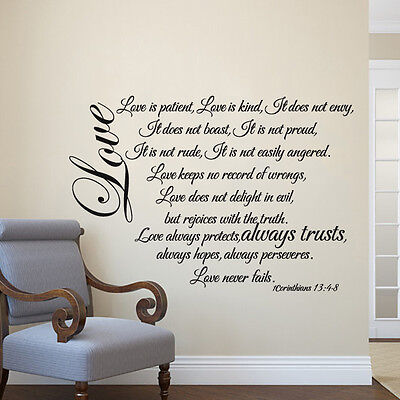 Family Inspired Wall Decal Love Is Patient Quote Bible Verse Vinyl