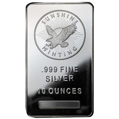 10 oz Sunshine Silver Bar (New, MintMark SI, Lot of 2) 2