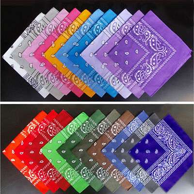 55*55cm Square Paisley Scarf Bandana Cotton Head Wrap Wristband Handkerchief 5