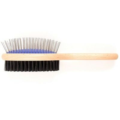 Ancol Ergo Dog Grooming Wooden Bristle Brush Double Sided Wood Handle Slicker 2