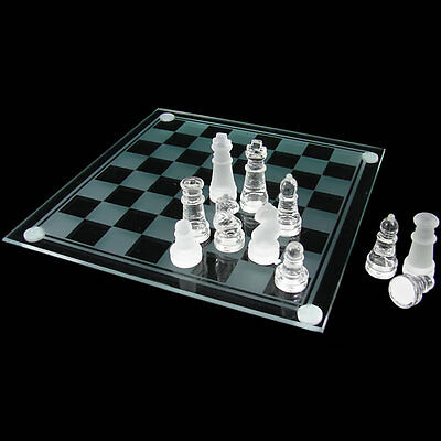 Brand New Elegant Solid Glass Board Chess Game Set