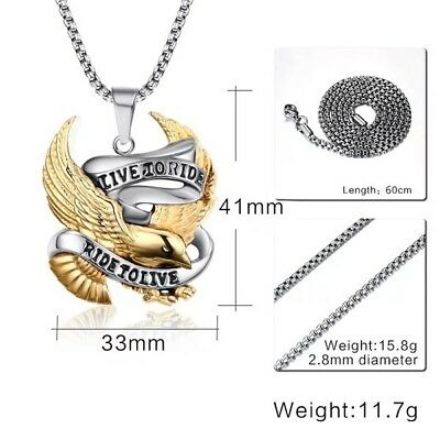 VINTAGE STAINLESS STEEL Live To Ride Eagle Harley Pendant Necklace Motor  Biker