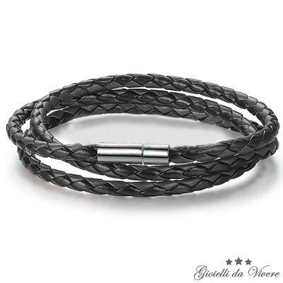 Bracciale cuoio intrecciato 4mm braccialetto Amicizia Regalo Uomo Donna 6