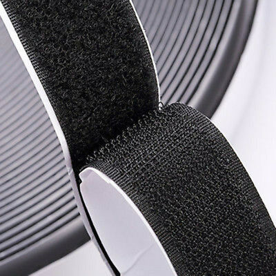 Self Adhesive HOOK and LOOP Fastener Tape Sticky Back Black or White Fastening 4