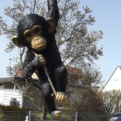 Gartenfigur Affe am Seil Schimpanse 2964 schwarz Haus Garten lebensecht Figur