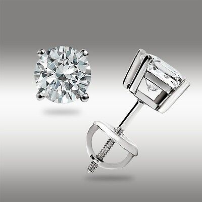 .50 Ct Stud Earrings 14K White Gold Round Cut Basket Set Screw back Pierced 2