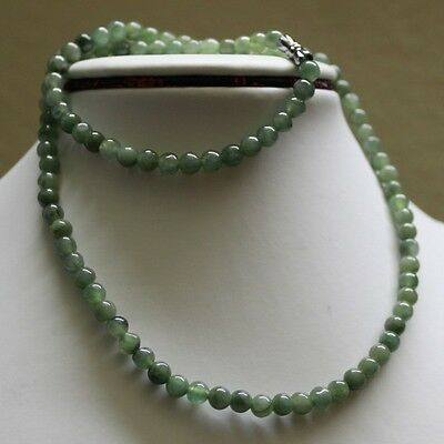 "Genuine 100% Natural JADE Type A Beautiful Oily Green Jadeite Necklace 5.2mm 19"" 3"