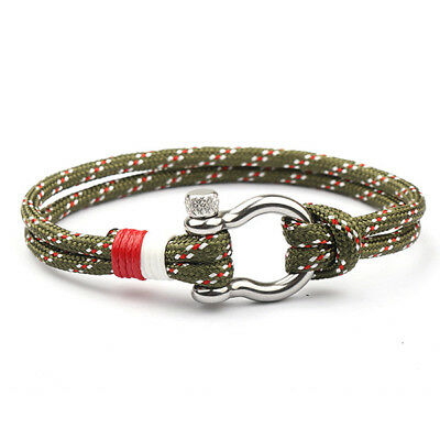 1PC Stainless Steel U Shaped Buckle Paracord Rope Women Men Gift Bracelet 6