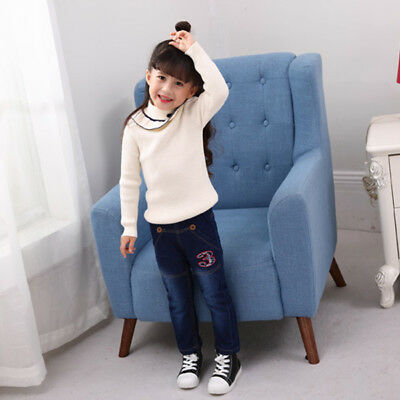 Boys Girls Baby Winter Denim Jeans Kids Pants Warm Fleece Thick Trousers Casual 11