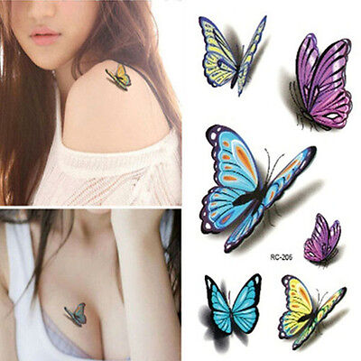 Blue Yellow Butterfly Flowers Silver Tattoos Temporary Stickers Body Art UK