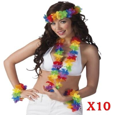 Beach Hula Girl Set LEI fiori collana fascia bracciali Hawaiano Party Fancy