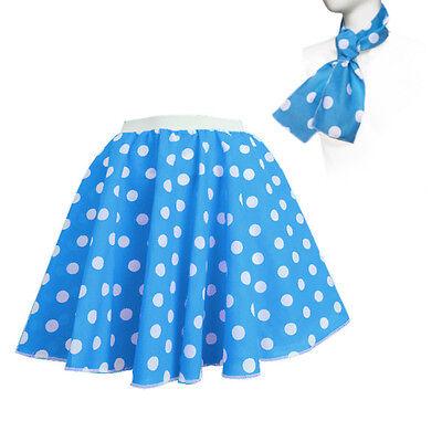 ROCK N ROLL Fancy Dress Grease 1950s Fancy Dress SKIRT & SCARF COSTUME all Size 5