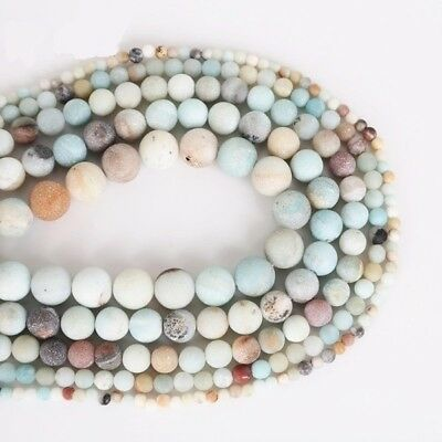 4/6/8/10mm Lot Natural Frosted Stone Loose Bead Bracelet Jewelry Manual DIY Hot 2