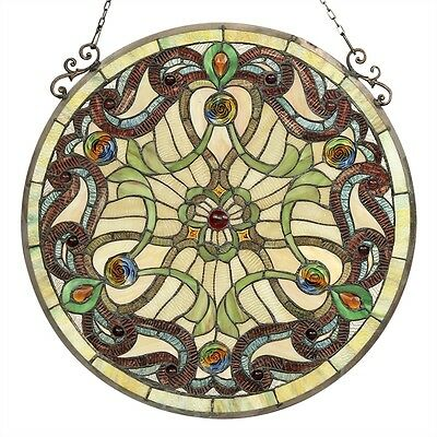 "Handcrafted  Victorian Tiffany Style Stained Glass 23.4"" Round Window Panel 2"